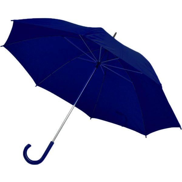 Зонт-трость с пластиковой ручкой, механический темно-синий с нанесением логотипа