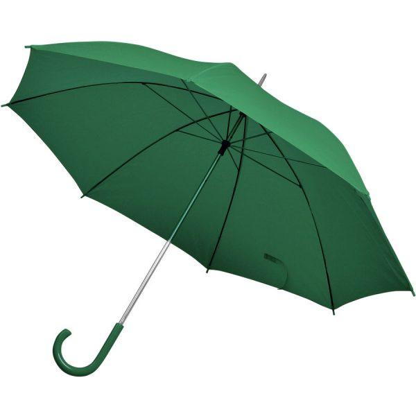 Зонт-трость с пластиковой ручкой, механический зеленый с нанесением логотипа