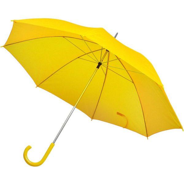 Зонт-трость с пластиковой ручкой, механический желтый с нанесением логотипа