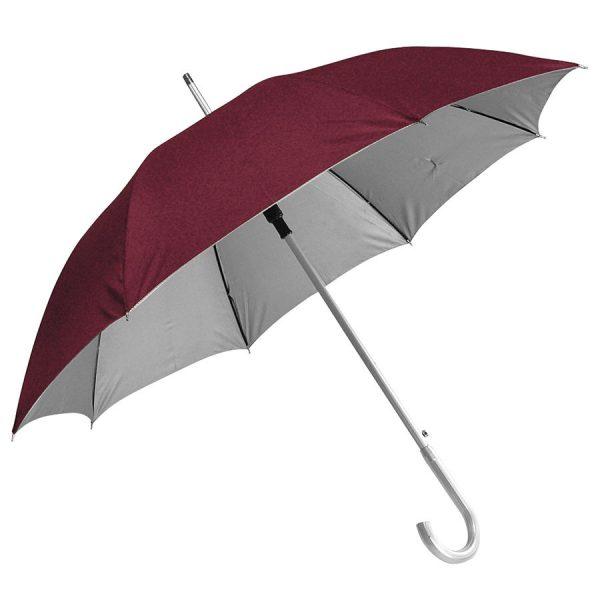 Зонт-трость с пластиковой ручкой под алюминий Silver, полуавтомат бордовый-серебристый с нанесением логотипа