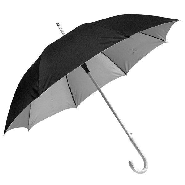 Зонт-трость с пластиковой ручкой под алюминий Silver, полуавтомат черный-серебристый с нанесением логотипа