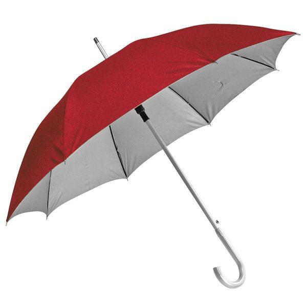 Зонт-трость с пластиковой ручкой под алюминий Silver, полуавтомат красный-серебристый с нанесением логотипа