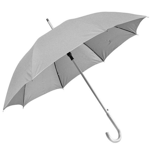 Зонт-трость с пластиковой ручкой под алюминий Silver, полуавтомат серый с нанесением логотипа