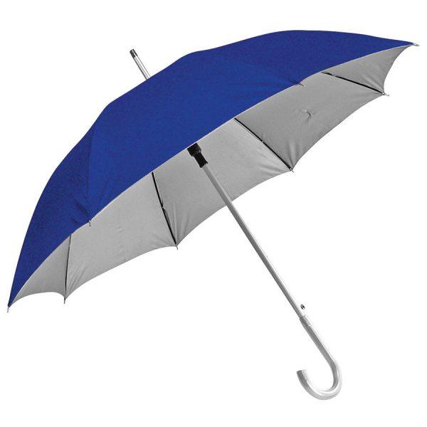 Зонт-трость с пластиковой ручкой под алюминий Silver, полуавтомат синий-серебристый с нанесением логотипа