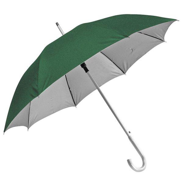 Зонт-трость с пластиковой ручкой под алюминий Silver, полуавтомат зелено-серебристый с нанесением логотипа