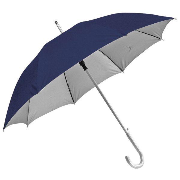 Зонт-трость с пластиковой ручкой под алюминий Silver, полуавтомат темно-синий-серебристый с нанесением логотипа