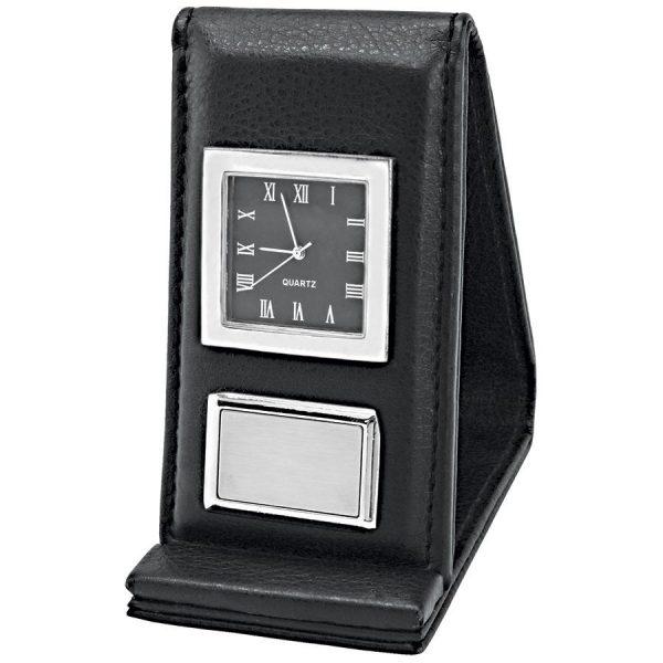 Часы настольныедорожные Бизнес-класс с шильдом с логотипом
