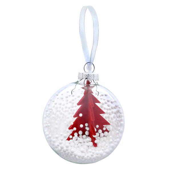 Шар новогодний Ель прозрачный с красной елью с нанесением логотипа