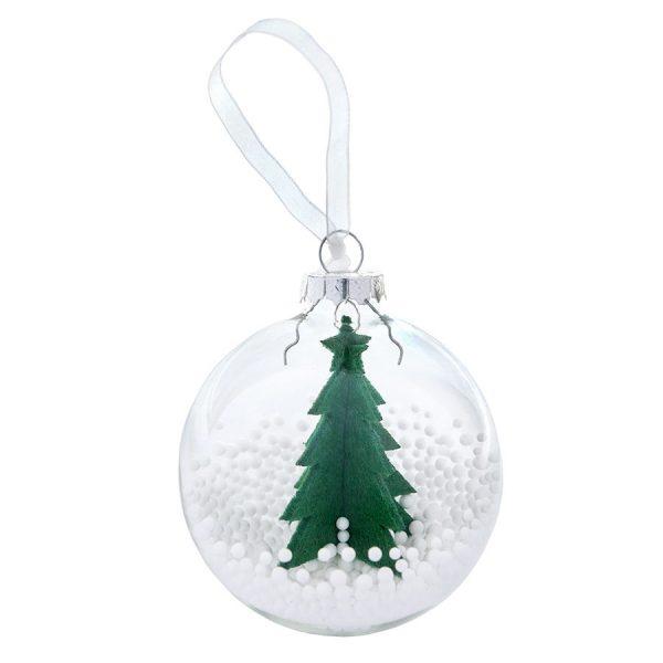 Шар новогодний Ель прозрачный с зеленой елью с нанесением логотипа
