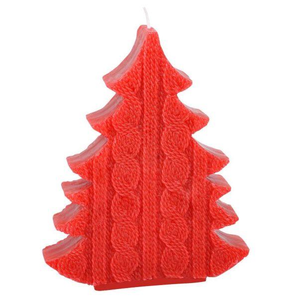 Свеча подарочная ЕЛКА красная с нанесением логотипа