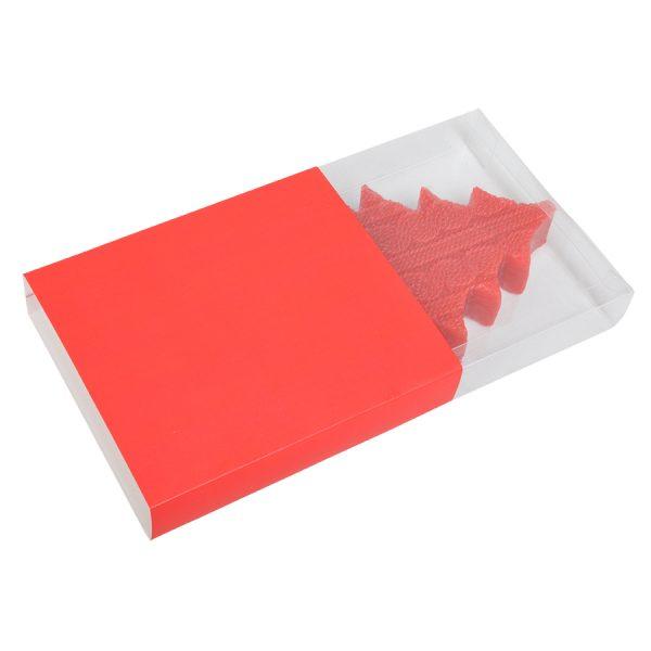 Свеча подарочная ЕЛКА красная с нанесением логотипа упаковка